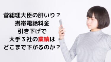 菅総理大臣の肝いり? 携帯電話料金引き下げで 大手3社の業績は どこまで下がるのか?